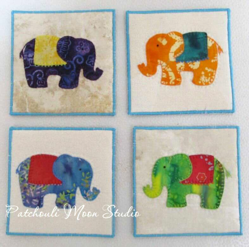 Applique Elephant Coasters