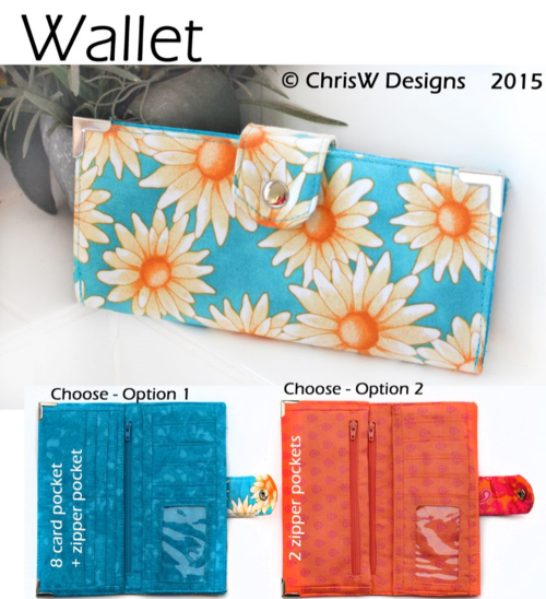 New Wallet PDF sewing pattern by ChrisW Designs