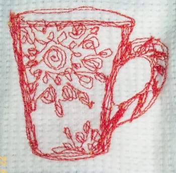 Karen's early attempt at free motion embroidery