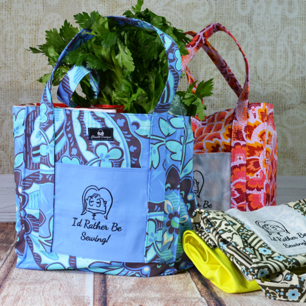 I'd Rather Be Sewing Grocery tote by ChrisW Designs - A FREE YouTube tutorial!