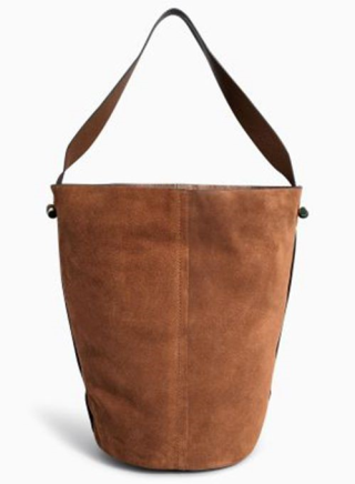 Discount Tan Leather Bucket Bag Online 4350_1